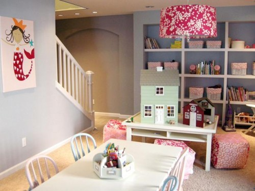 basement play rooms for kids with storage wall for toys
