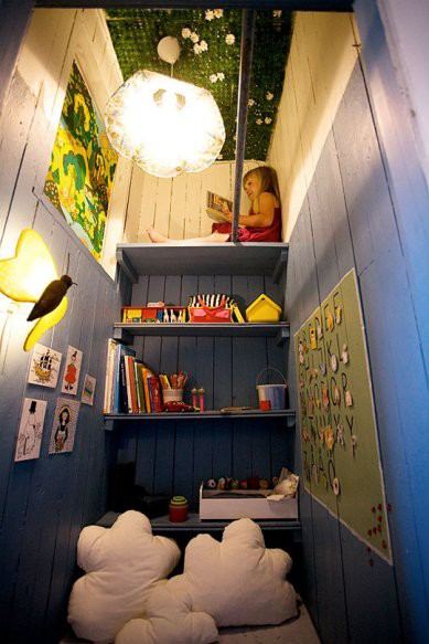 kids reading area in closet