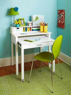 nesting desk is a great space saver in small bedrooms rollers on