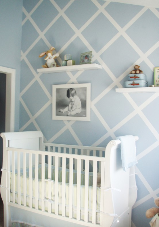 baby nursery wall ideas with painted stripes