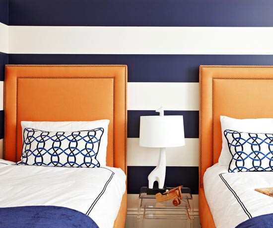 kids room wall ideas with navy blue striped walls