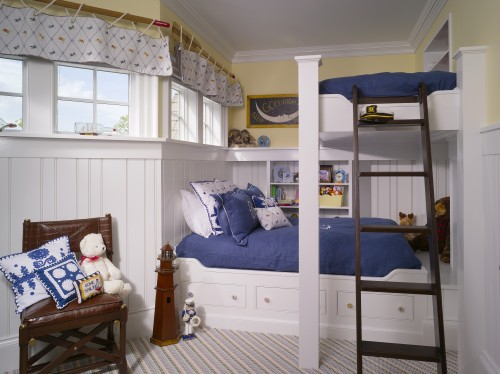 nautical boys room with beadboard wall