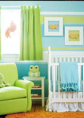 baby nursery ideas with striped walls and frog motif