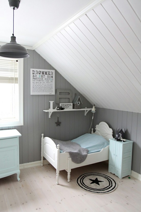 toddler bedroom with white painted board ceiling