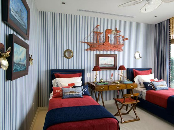 nautical boys room with blue striped wall