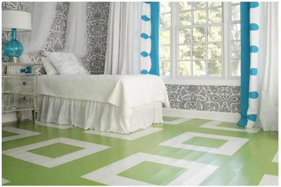teenage room floor ideas with painted wood floor