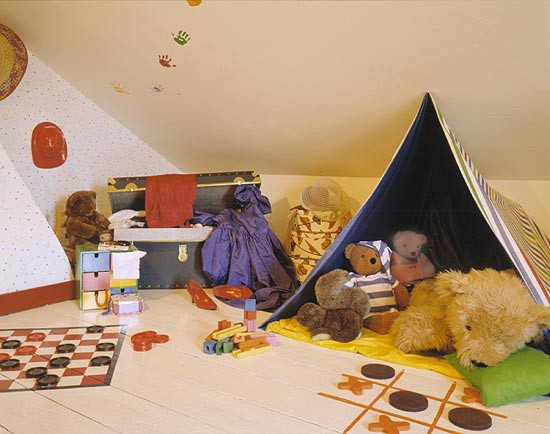 kids playroom floor ideas with painted game boards on wood
