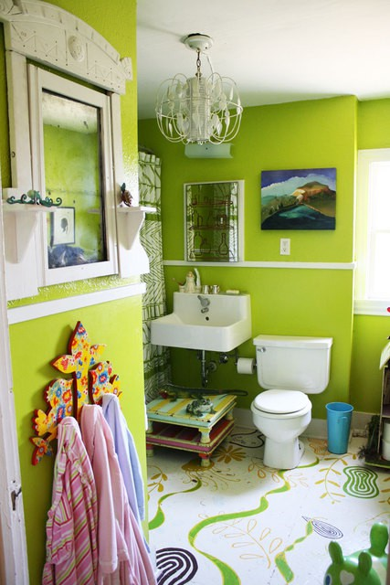 kids bathroom floor ideas with painted wood floor