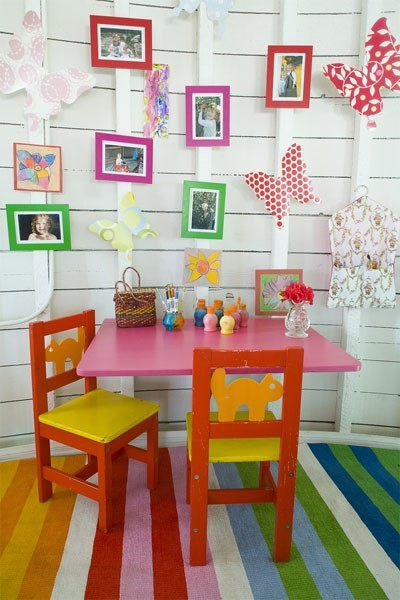 kids playhouse with painted stripes wood floor