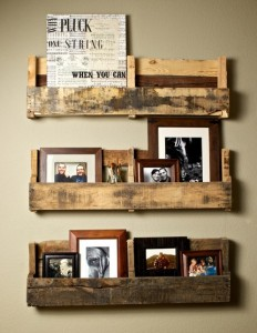 family photo display with recycled wood pallets