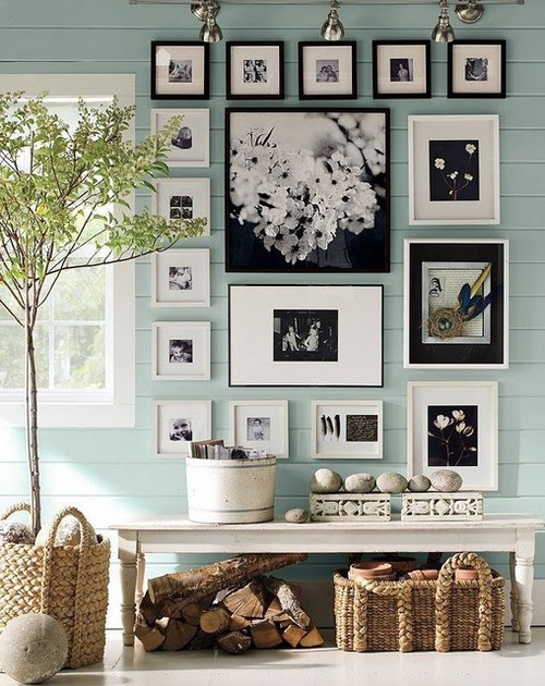family photo gallery wall with black and white frames