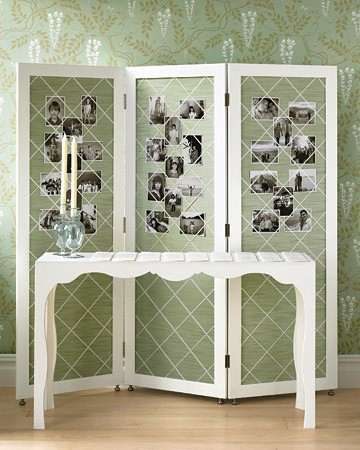 family photo display on folding screen divider