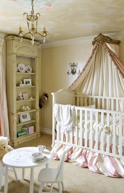 Baby Nursery Ideas With Vintage Bookcase