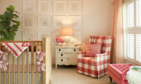 Red Checked Fabric Lounge Chair In Vintage Baby Nursery