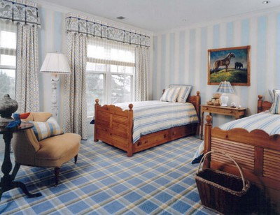 boys room floor idea with plaid patterned carpet