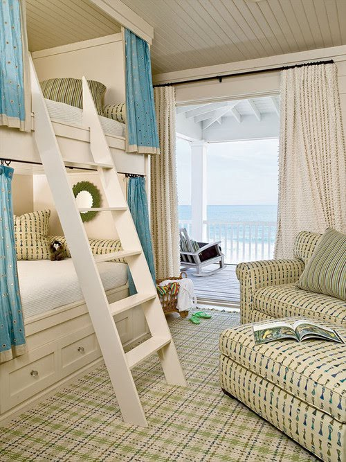Kids Bunk Room In Coastal Design With Plaid Area Rug