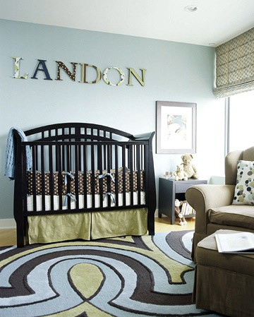baby boy nursery ideas with large print area rug and modern crib