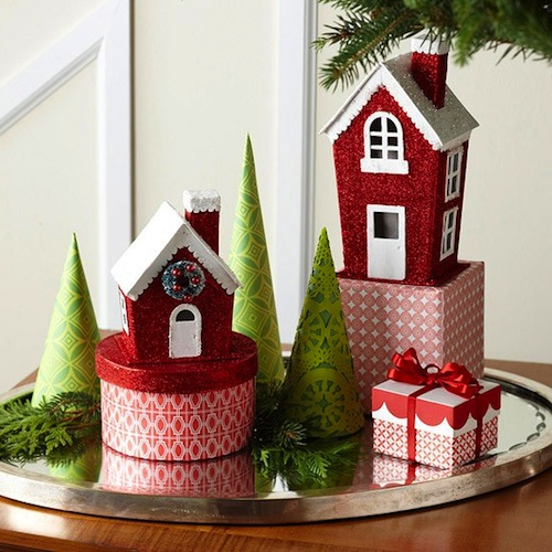 Kids Room Holiday Decor Ideas With Christmas Village On Tray