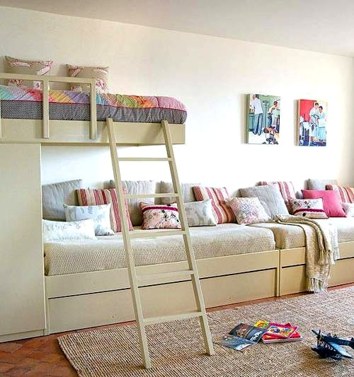 bunk beds in shared bedroom for three kids
