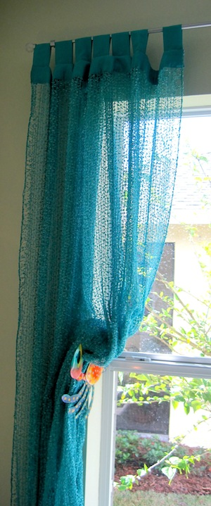 sheer curtain with gecko holdback hardware