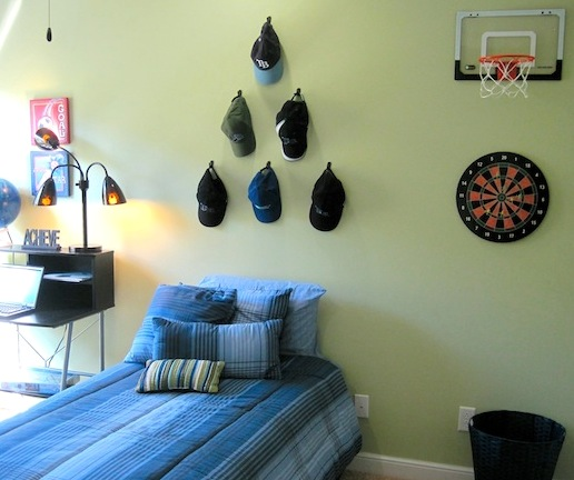 Boys Bedroom Sports Theme With Baseball Hat Art