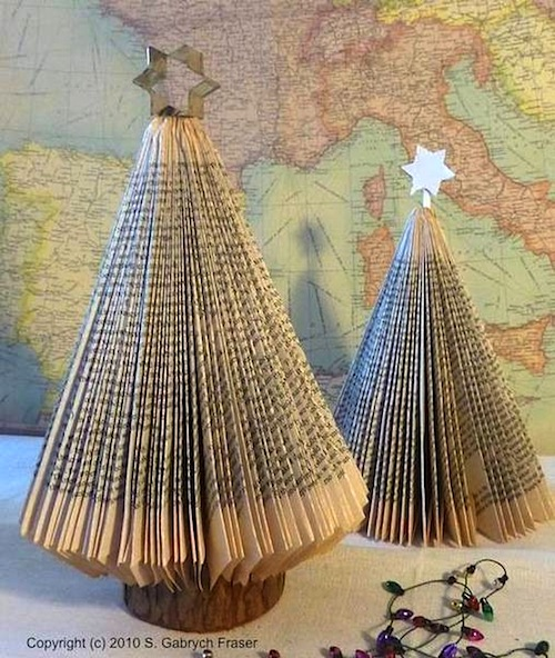 folded page book christmas tree for kids room christmas decoration ideas