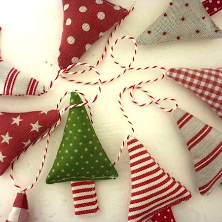 Hang a bunting made with stuffed Christmas trees and baker's twine