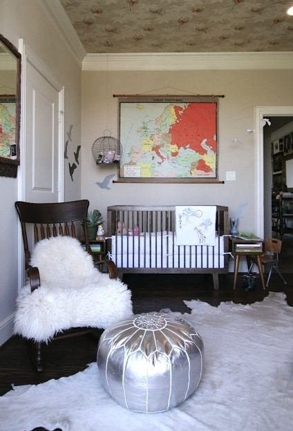 Design room for kids with Rocking chair in nursery