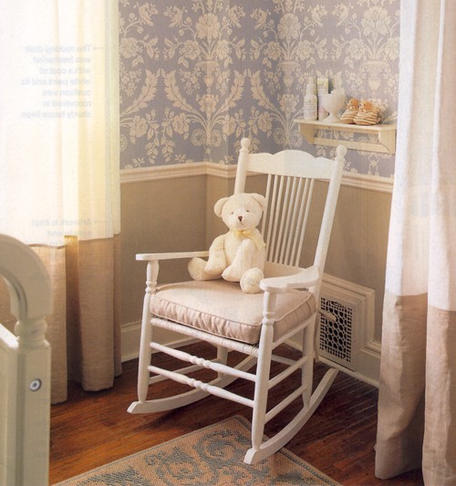 Nursery rocking chair with teddy bear used for kids room design