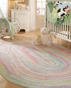 Baby Nursery Braided Rug With Padding For Kids Room Design Sound Absorption