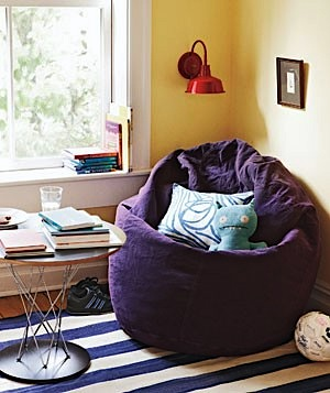 Gentil Design Room For Kids With Beanbag Chair In Reading Nook With Wall Mounted  Lamp