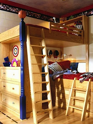 Bunk Bed With Reading Lights For Kids Room Design In Boys
