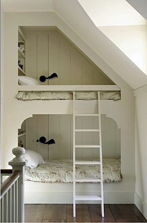 Design room for kids with bunks under stairs
