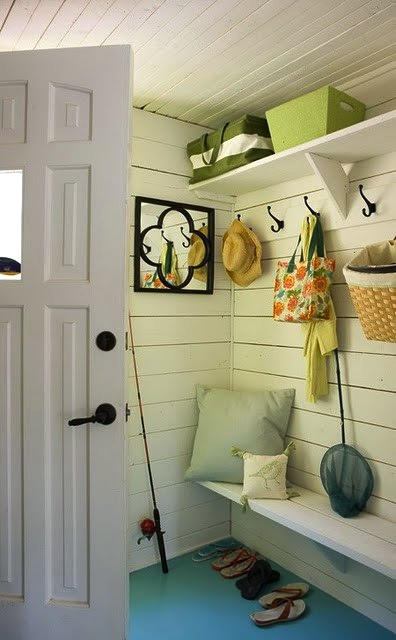 built-in bench in small space mudroom