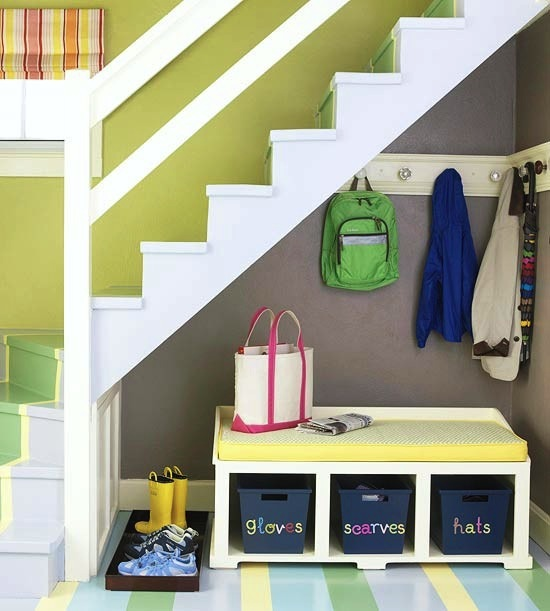 small space mudroom under stairs for kids room design