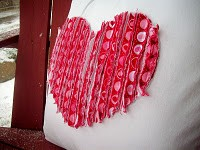 kids valentines craft with ruffled heart pillow