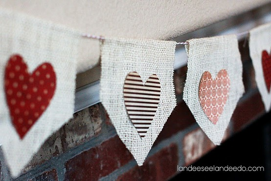 no sew diy burlap bunting for kids valentines day craft