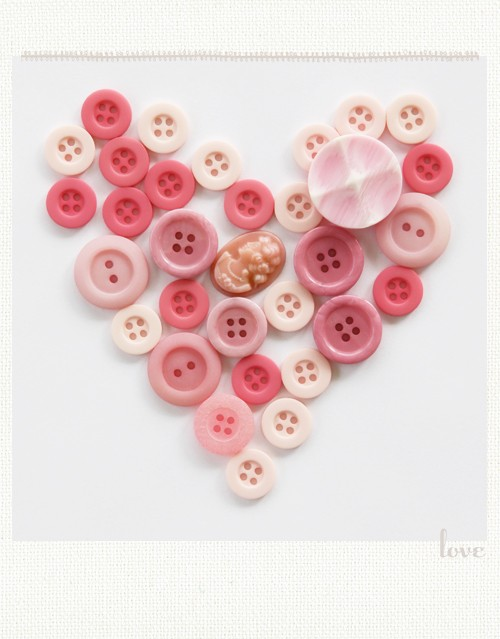 Buttons form heart for kids valentines day craft