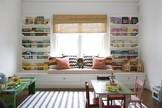 Design Room For Kids With Storage Wall Around Window