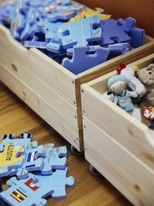 Design room for kids with Rolling toy storage bins