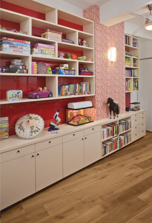 Design room for kids with Wall storage for playroom