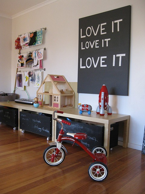 Design room for kids with Rolling storage for playroom