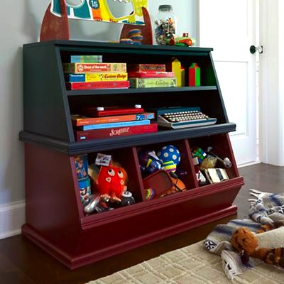 Stackable toy storage in design for kids room