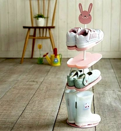 Design for toddler room with kid shoe rack in pink with bunny face