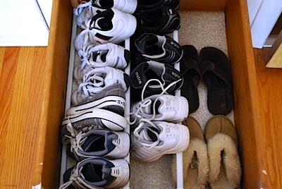 kid room storage ideas with shoe storage rack in drawer