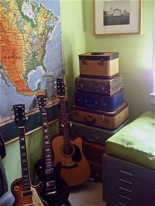 Design room for kids guitar and vintage suitcase collection