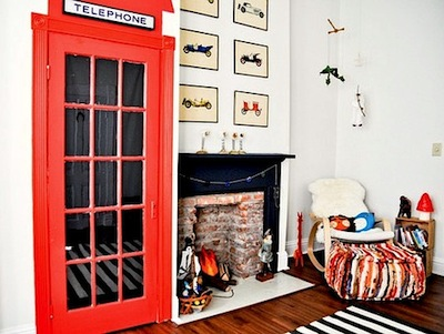 Design for kids room with closet door painted like English telephone booth