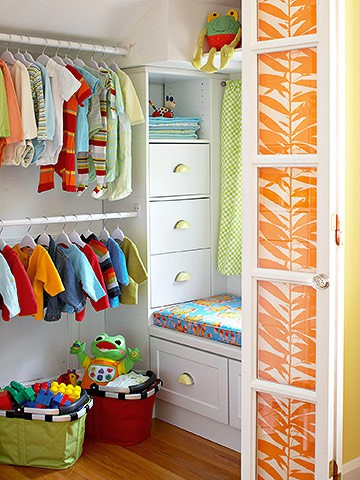 Design For Kids Room Organized Closet With Fabric Panels In The Door
