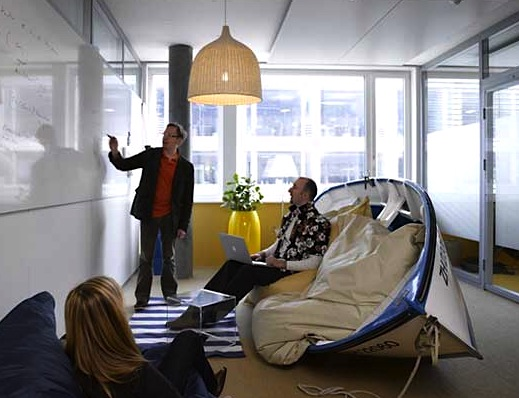 row boat used for sofa in google zurich office