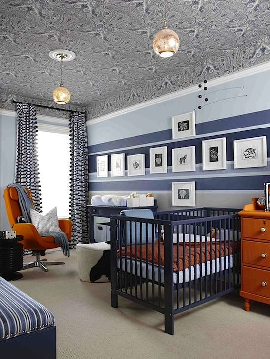 baby nursery idea with contemporary crib and vintage style
